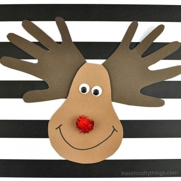 Make an adorable reindeer handprint Christmas card for Mom, Dad or Grandma. Fun Christmas keepsake crafts and kid-made Christmas cards.