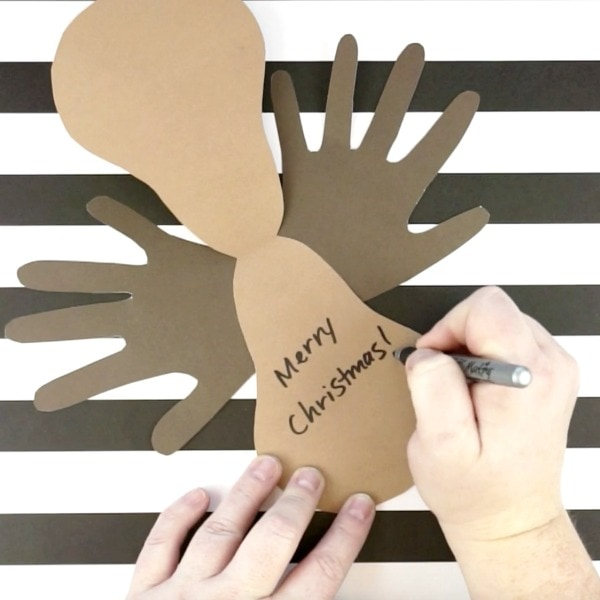 Reindeer Christmas Cards Hand Prints.Reindeer Handprint Christmas Card