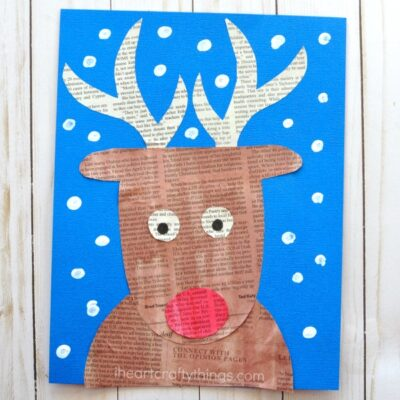 Super Cute Newspaper Reindeer Craft