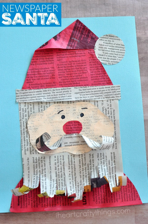 Finish Your Adorable Newspaper Santa Claus Craft By Using A Black Marker To Draw Eyes And Eyebrows Onto