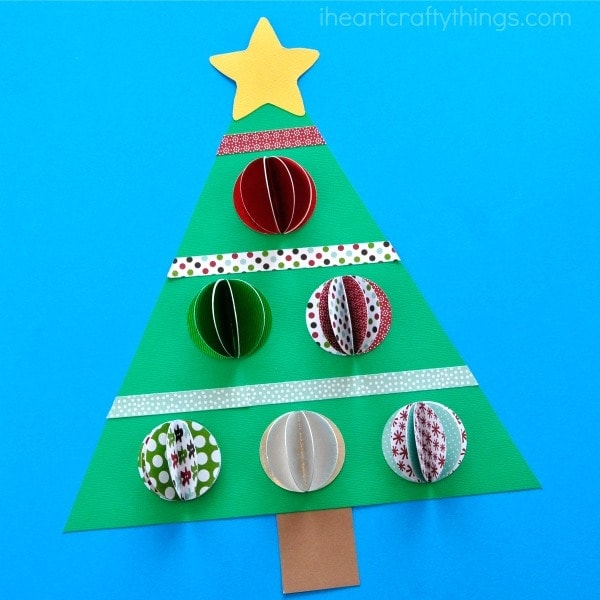Beautiful 3D Paper Christmas Tree Craft for kids. Great Christmas paper craft, Christmas tree craft for kids and Christmas art projects for kids.