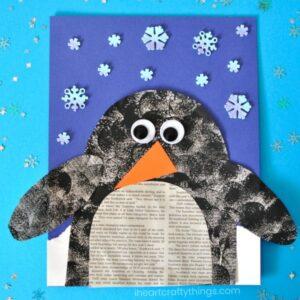 Darling Penguin Newspaper Craft