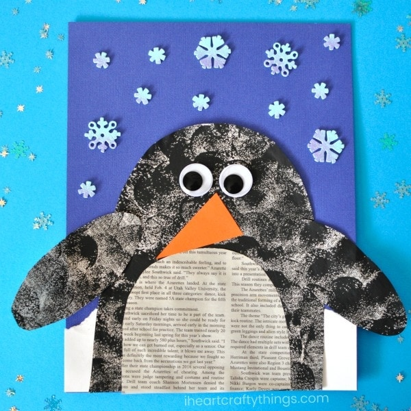 Recycle newsprint into this darling penguin newspaper craft for a fun winter kids craft. Cute penguin crafts for kids and winter animal crafts for kids.