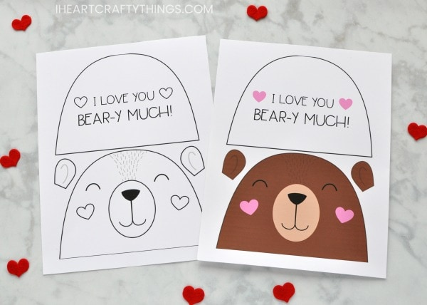 Adorable bear valentine card for kids i heart crafty things begin by printing out the bear valentine card template printable on white cardstock we included both a color template and a black and white template that maxwellsz