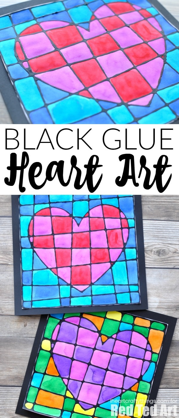 Black Glue Valentine S Day Art Project I Heart Crafty Things