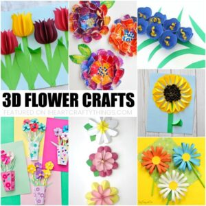 Here are some fun and colorful 3D Flower Craftskids will love creating for spring crafts. Several of them can double as a handmade gift so keep Mother's Day in mind as you browse through all of these beautiful 3D flower craft ideas.