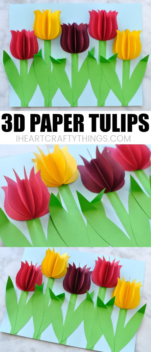 Gorgeous 3d paper tulip flower craft i heart crafty things you might also like valentines day paper flowers craft mightylinksfo