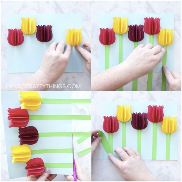 Cut Out Stems For Each Of Your Paper Tulips Glue Them At The Base Flowers Then Use Scissors To Trim Off Any That Are Hanging Over