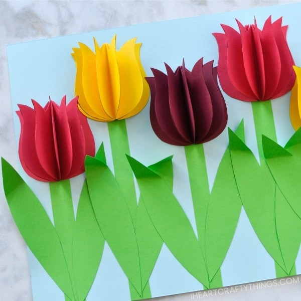 Gorgeous 3d paper tulip flower craft i heart crafty things the mixture of the tulips popping of the page in a 3d effect and the bright vibrant colors makes this paper tulip flower craft a show stopper mightylinksfo