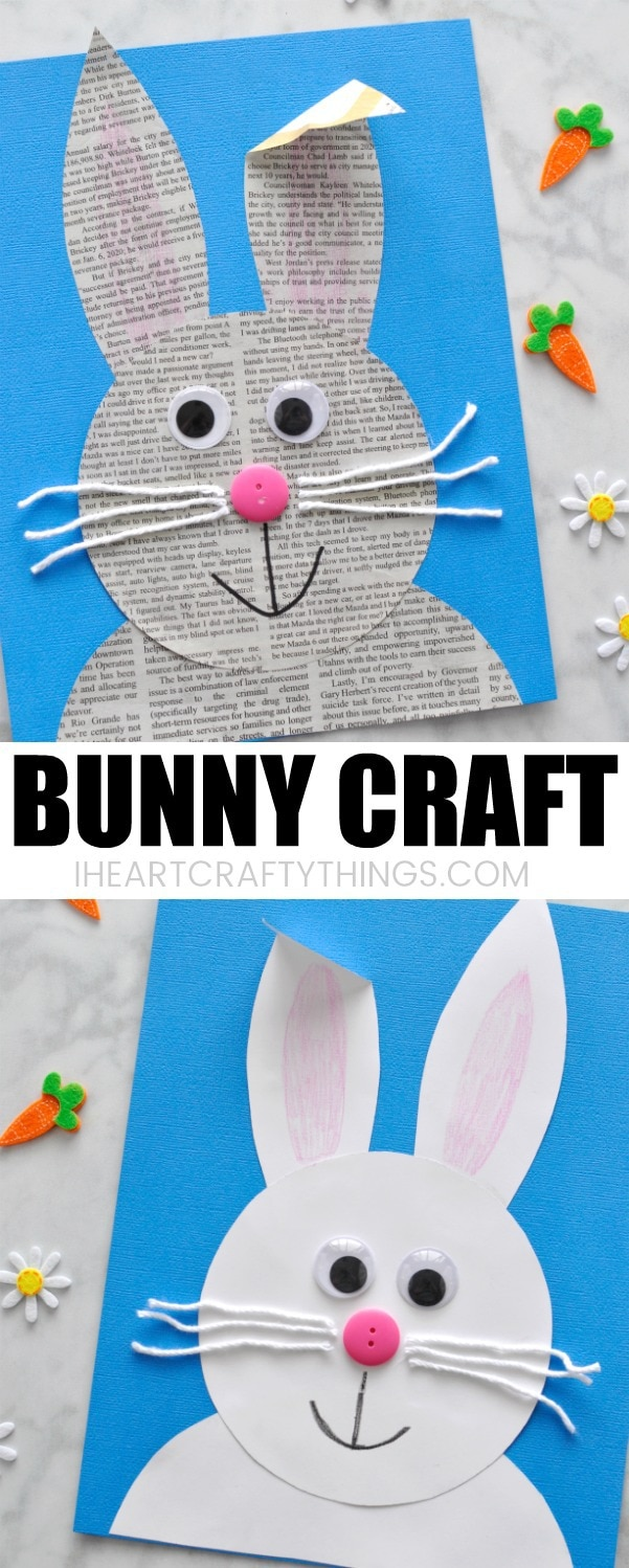easy paper bunny craft simple and easy newspaper bunny craft i crafty things 4371