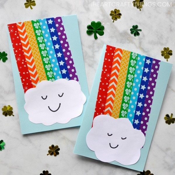 Rainbows and washi tape combine together to make a rainbow washi tape craft that is perfect for a spring kids craft. Create it as a stand alone rainbow craft or make your washi tape rainbow craft into a darling rainbow greeting card that will put a big smile on someone's face.