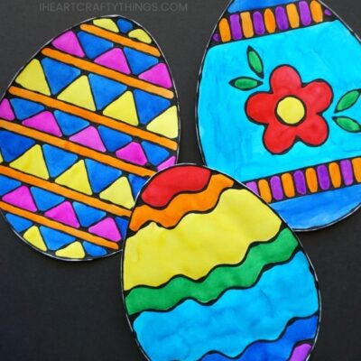 Colorful Easter Egg Black Glue Art Project