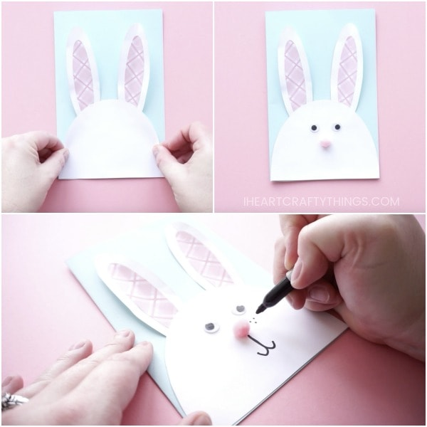 Card Making Ideas For Easter Part - 49: Fold The Light Blue Cardstock In Half To Create Your Easter Card. Glue The  Bunny Face And Ears Onto The Front Of The DIY Easter Card.