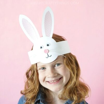 This DIY Bunny Headband Craft is a simple and perfect Easter craft for kids to make during a playdate, family get-together or for an Easter celebration at school. After making the adorable headband kids can have fun hopping around, pretending to be bunnies and giggling in their cute DIY bunny headband.