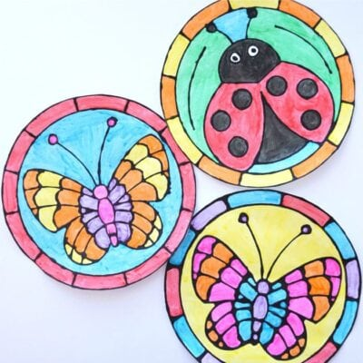 Ladybug and Butterfly Black Glue Spring Art Project