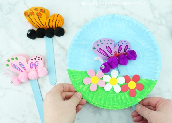 Paper Plate Fluttering Butterfly Craft I Heart Crafty Things