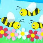 This paper bee craft is a fun way to bring some of the spring season indoors. Kids will love creating a colorful flower scene with busy paper bees buzzing around them to collect pollen. The bee wings popping off the page gives this simple spring craft a fun effect!
