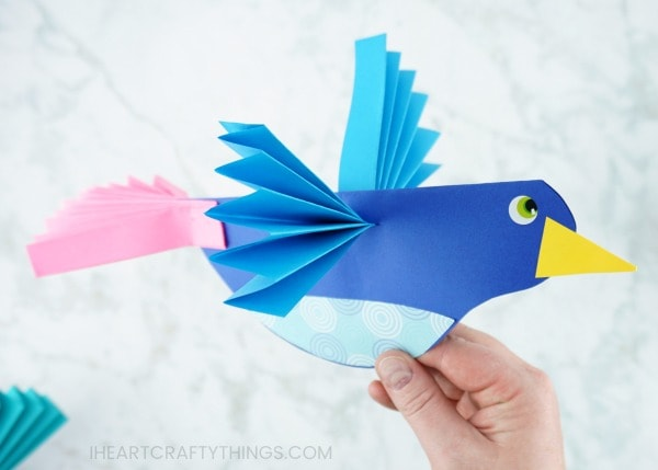How To Make A Colorful Paper Bird Craft Fun Paper Craft For Kids Of