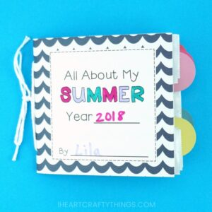 Bottle up summer memories with this fun paper bag summer memory book for kids. It's a project that kids can start now and have fun working on all summer long. Easy paper bag book and summer craft for kids.