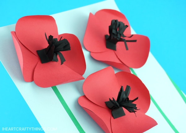 Pretty paper poppies craft i heart crafty things not only can you make this paper poppies craft when poppies are in bloom in your area but it also makes a perfect craft for remembrance day on november 11 mightylinksfo