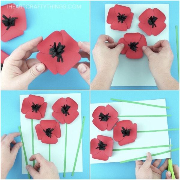 Pretty paper poppies craft i heart crafty things glue two of the paper poppy flower petals together to form a flower add glue in the middle of the flower and glue down the black middle section of the mightylinksfo