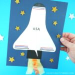 This fun space shuttle paper craft is a great summer craft for kids or for school to accompany a solar system unit. The space shuttle wing popping off the page gives this paper craft a fun 3D effect to it. The space shuttle craft would look great up on display on a classroom bulletin board with a blasting off theme.