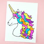 Kids will love making this black glue unicorn art project. A colorful art project for kids for unicorn fans and perfect for a summer afternoon art project.