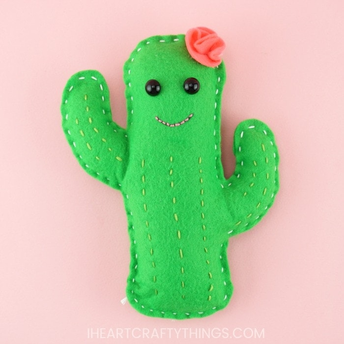 This adorable DIY Cactus Plushy is easy for kids and adults to create using our free template and tutorial. Fun sewing craft for kids.