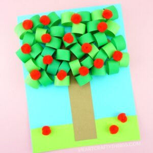 This 3D paper apple tree craft has awesome dimension and is perfect for a fall kids craft. Fun apple tree craft for kids.