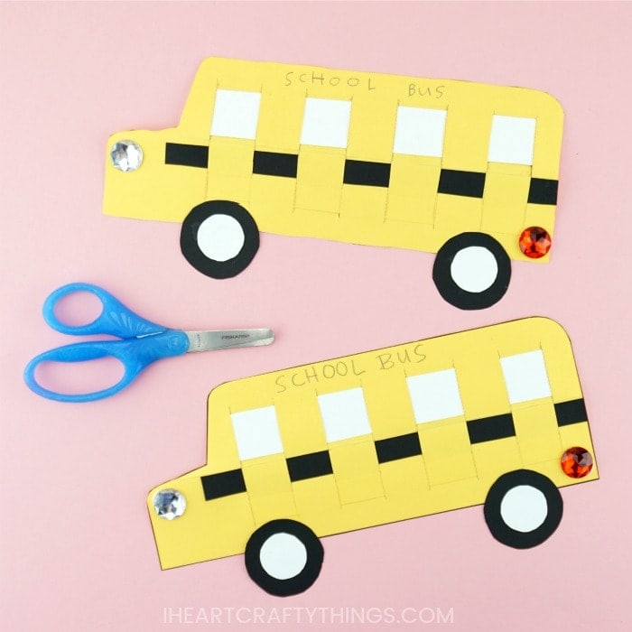 This paper weaving school bus craft is a perfect back to school craft. Use our free template at home or school to make this fun paper weaving craft.