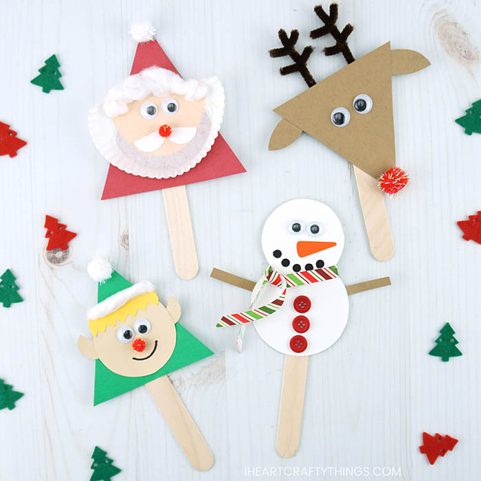 These cute Christmas stick puppets are simple to make with our free template We have Santa, Rudolph the red-nosed reindeer, an elf and a snowman.
