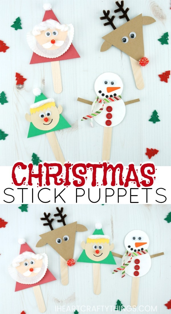 photograph about Printable Puppets on a Stick called Xmas Adhere Puppets Craft