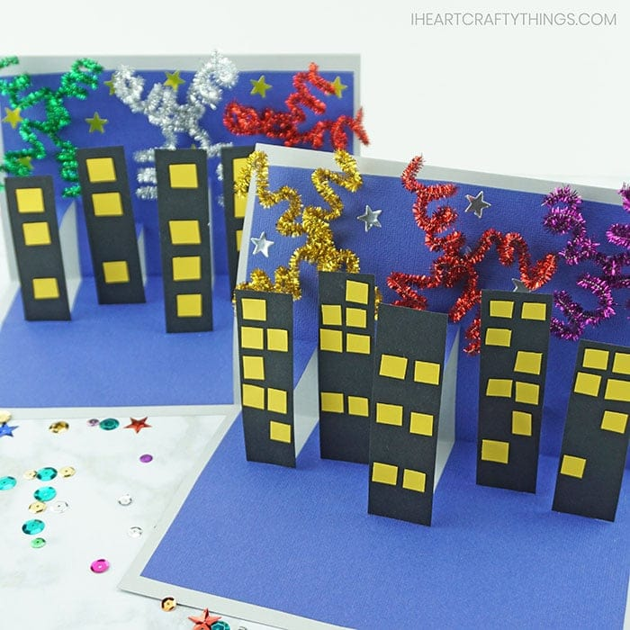 This 3D New Year's Eve Craft for kids is a great craft for kids to make to ring in the new year. It depicts a nighttime fireworks show in the city.