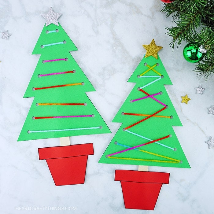 Use our free template to make this fun fine motor Christmas tree craft this holiday season. Work on fine motor skills with this paper Christmas craft.