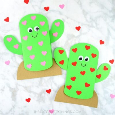 Grab our free template for kids to make this adorable cactus Valentine card this year. Fun Valentine's Day card for kids to make for family or friends.