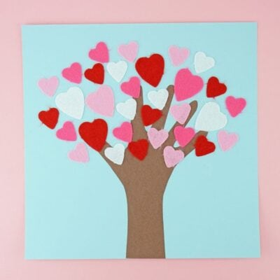 This Valentine's Day tree craft is a classic Valentine's Day craft Mom's will love saving for a keepsake. Fun Valentine's Day kids craft.