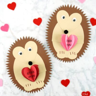 See how easy it is to make this hedgehog Valentine craft with our free hedgehog template. Fun kid-made Valentine card idea for kids.