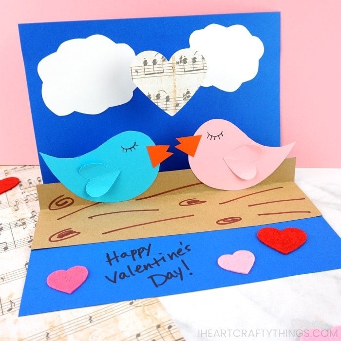 This pop-up love birds card is easy to create with our handy template and detailed tutorial. Kids will love creating this sweet Valentine's Day card idea.
