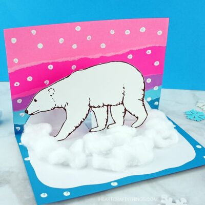 This awesome pop-up polar bear craft idea is a great winter craft for kids and it goes along great with an arctic animals unit. Free polar bear template included.