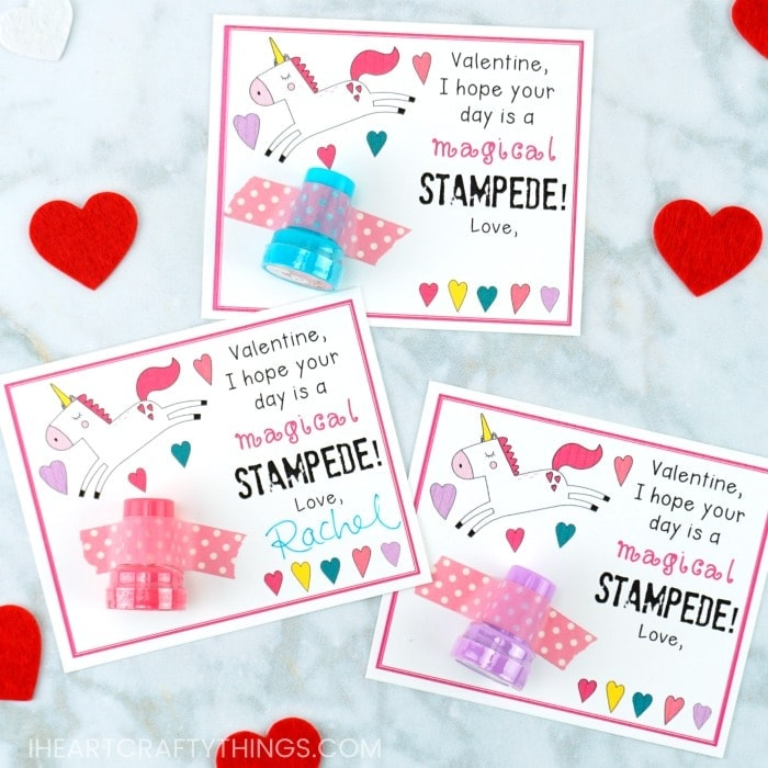 Grab our free printable unicorn Valentine cards to hand out to classmates for Valentine's Day. Tape on a piece of candy or a fun unicorn stamper.