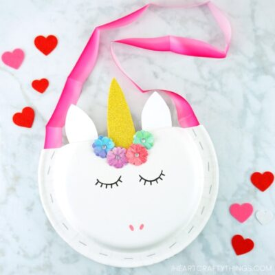 Paper Plate Unicorn Valentine Holder