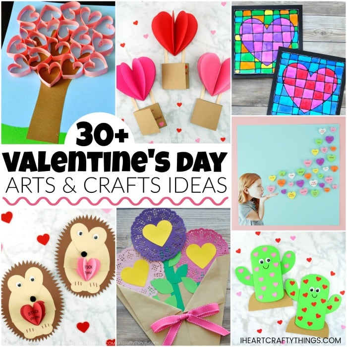 More than 40 Valentine's Day arts and crafts ideas for kids. Kid-made Valentine Cards, arts and crafts ideas, Valentine boxes and learning activities.