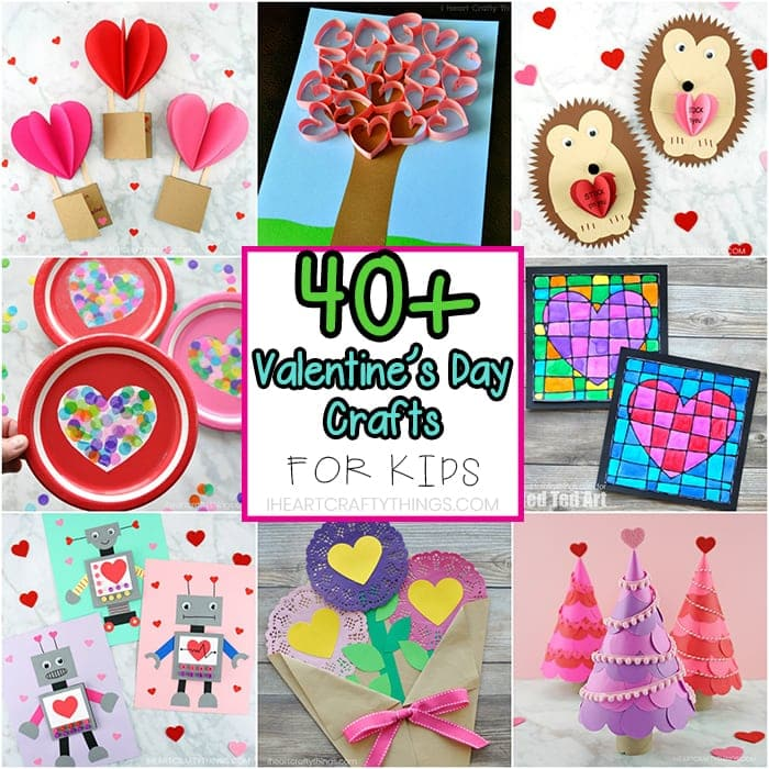 40+ of the best Valentine's Day crafts for kids. Kid-made Valentine Cards, Valentine's arts and crafts ideas, Valentine boxes and learning activities.