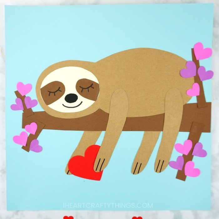 Grab our free template to make this adorable paper sloth craft. Make it for a fun Valentine's Day craft or anytime of the year for an animal craft for kids.