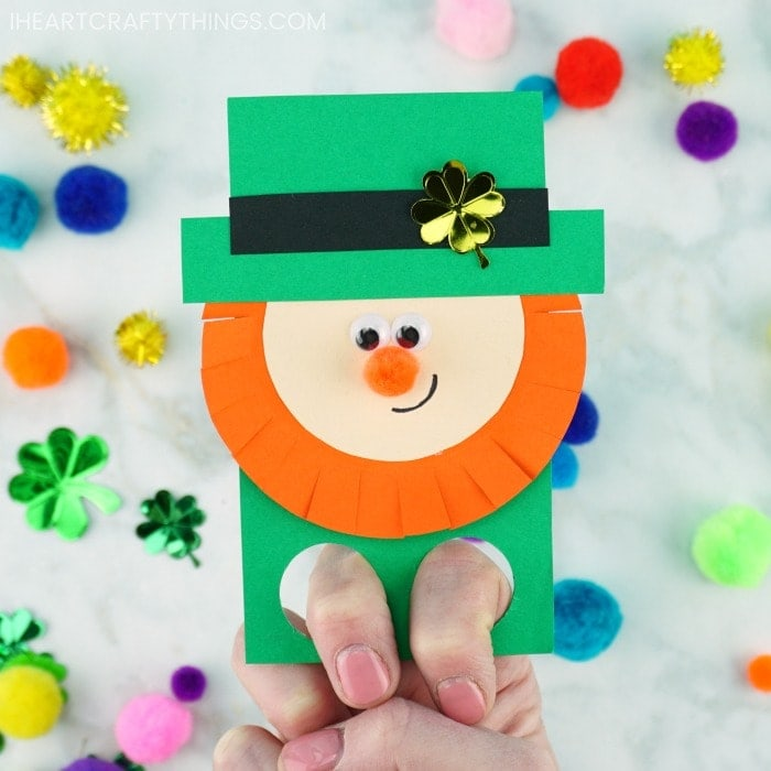 DIY Finger Puppets are the definition of fun for kids! Grab our free leprechaun finger puppets template to make this easy St. Patrick's Day craft for kids.