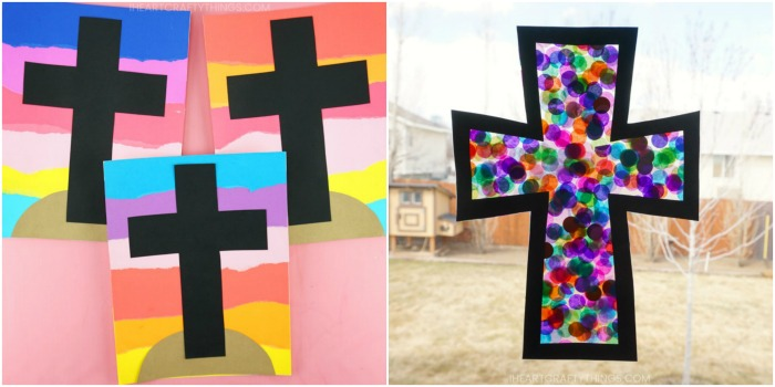 paper cross craft and stained glass cross craft