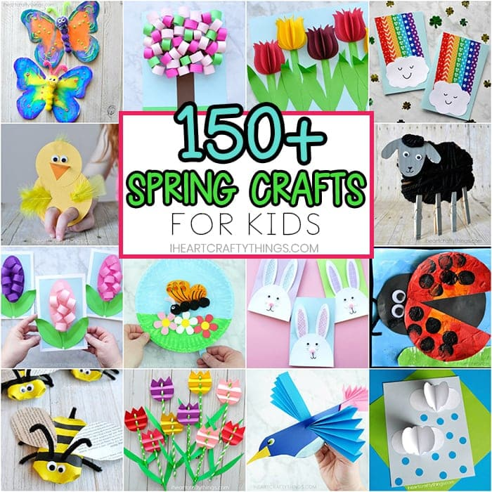The ultimate guide to over 150+ of the best fun and easy spring crafts for kids. Fun paper flower crafts and spring craft ideas with simple craft supplies.