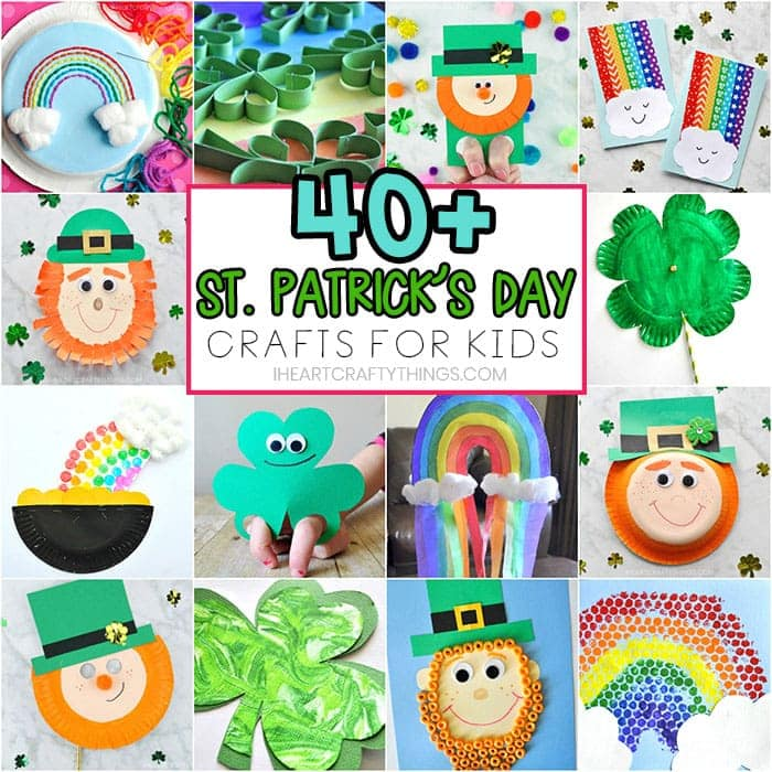 St. Patrick's Day Crafts for Kids - 40+ Art and craft project ideas. Leprechaun crafts, rainbow crafts, shamrock crafts, preschool crafts and activities.