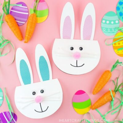 Simple Easter Bunny Card for kids -Make this cute bunny greeting card with our free printable template. Easy Easter craft for kids and diy Easter card.