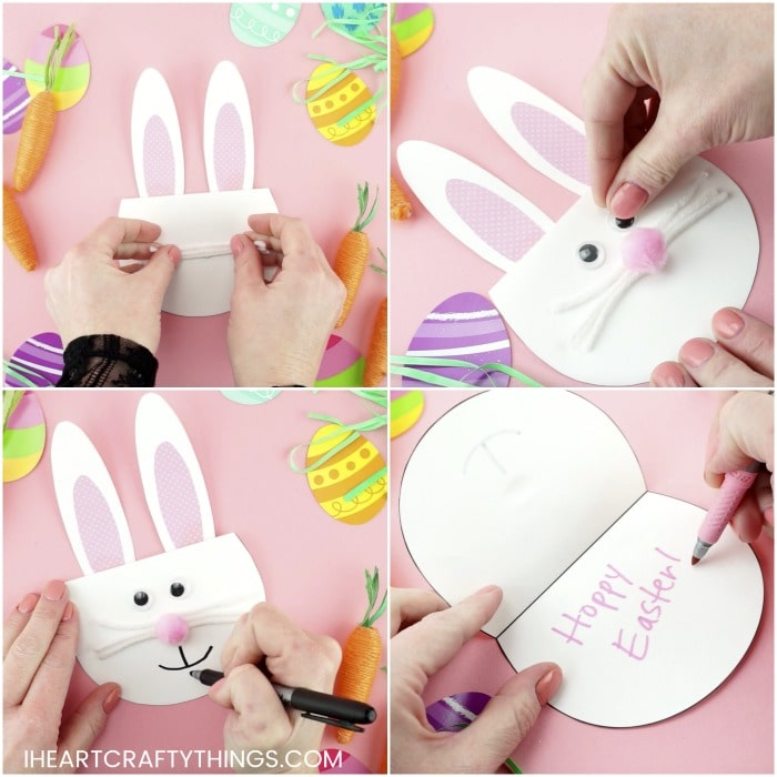 3458a33199c Fold your card template piece in half along the line to create the bunny  face for the card.